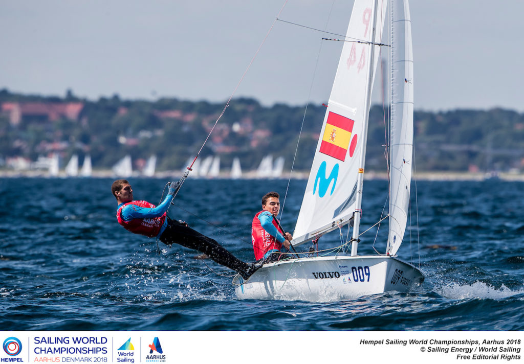 Aarhus, Denmark is hosting the 2018 Hempel Sailing World Championships from 30 July to 12 August 2018. More than 1,400 sailors from 85 nations are racing across ten Olympic sailing disciplines as well as Men's and Women's Kiteboarding. 40% of Tokyo 2020 Olympic Sailing Competition places will be awarded in Aarhus as well as 12 World Championship medals. ©JESUS RENEDO/SAILING ENERGY/AARHUS 2018 03 August, 2018.